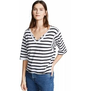 Free People Head In The Clouds X-Small Striped Tee